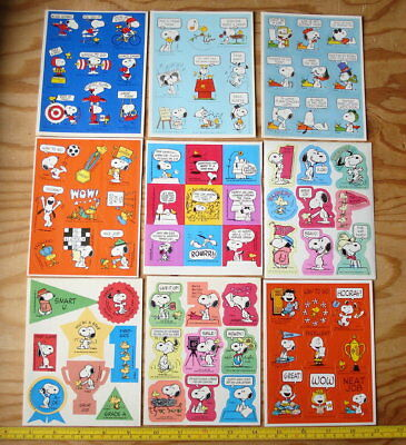 70s 80s Vtg Schulz Peanuts Snoopy Charlie Brown Lucy Linus Stickers Sticker Lot