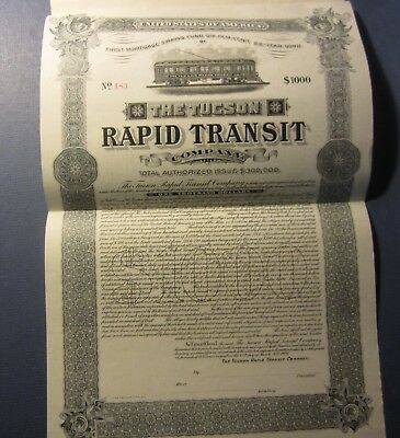 Old 1906 - TUCSON RAPID TRANSIT - Railroad - $1000 BOND Certificate - ARIZONA