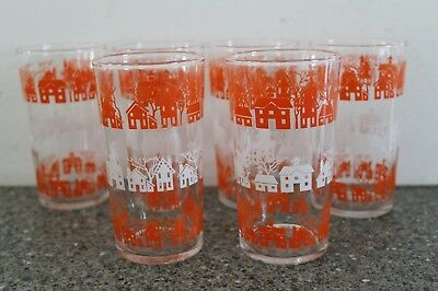 Lot of 6 Vintage Federal Juice Glasses Houses Mid Century Modern MCM EUC