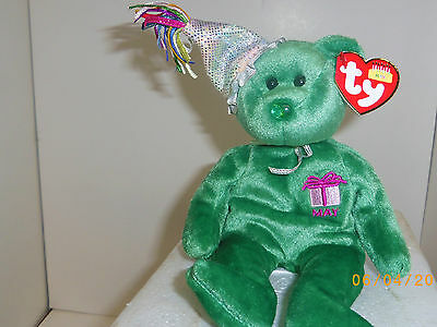 May Birthday Emerald Birthstone TY Beanie Babies 8in bear 2nd series 3up 4556