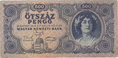 1945 500 Pengo Hungary Currency Banknote Note Money Bank Bill Cash Budapest Wwii