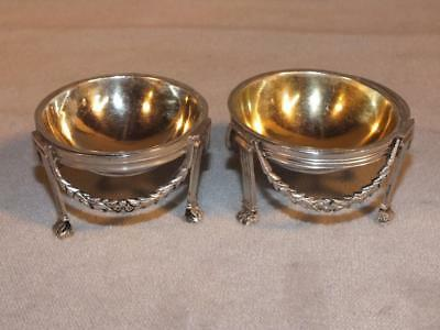 Pair Antique Sterling Silver Classical Open Salts Attr. French