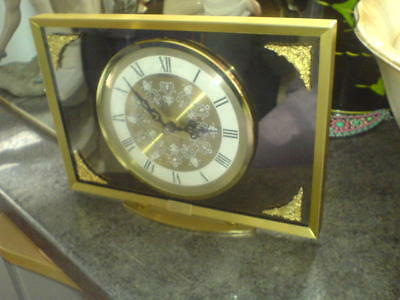"BENTIMA BATTERY MANTEL CLOCK - BRASS - MIRROR BACK OF DIAL 8.5"" x 6"" with 5""dial"
