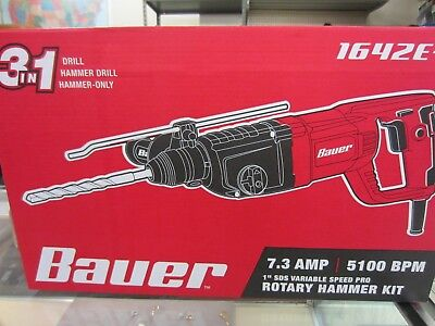 """Bauer 1"""" SDS Variable Speed Pro Rotary Hammer Kit 1642E-B BRAND NEW"""