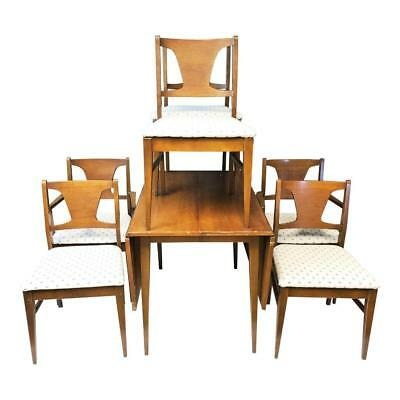 Danish Modern Dining Table & 6 Chairs mid century set vintage lenoir drop leaf 2