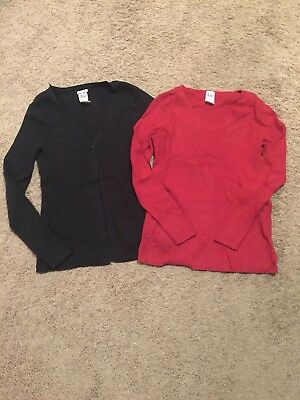 Duo Maternity Ribbed Sweater Lot - Size Medium - Cardigan and Sweater Top