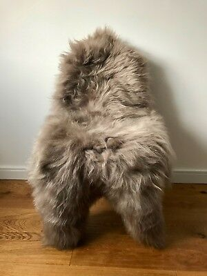XL Large Genuine Icelandic Sheepskin Sheep Rug in Taupe/Fawn Colour Real Fur