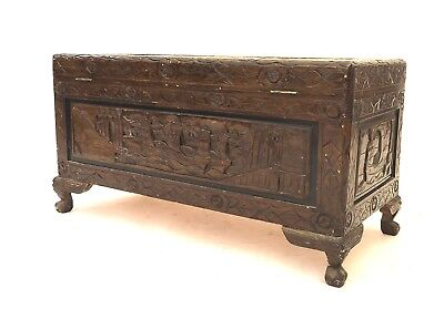 Large Vintage Carved Oriental Storage Trunk Rustic Shabby Chic Camphor Chest