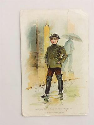 1880s antique STORM KING RUBBER BOOTS boston ma VICTORIAN TRADE CARD shoe worlds
