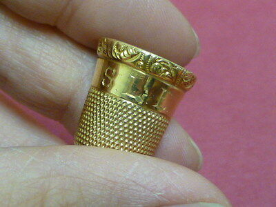 Antique 14K Yellow Gold Sewing Thimble by Simon Brothers