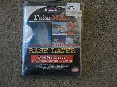 Womens Polarmax  Base Double Layer Crew Ivory Color Size M 100% Acclimate Poly
