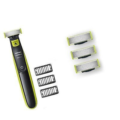 Philips Norelco OneBlade hybrid electric trimmer and Replacement Blade, 3 Count