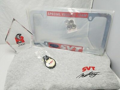 LOT OF 4 FORD SVT Special Vehicle Team KEY RING tee shirt LICENSE PLATE plaque