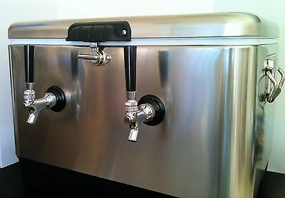 Stainless Steel Double Jockey Box Draft Keg Beer Cooler Dual Coil Complete - New