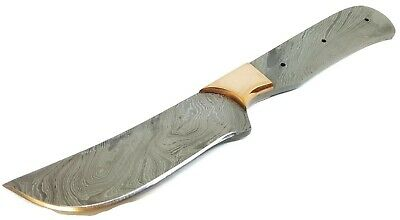 Full Tang Damascus Steel Knife Makers blade blank with Brass Bolster DIY
