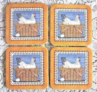 4 Longaberger Market Basket Coasters Country Rooster Chicken Eggs Deb Strain New