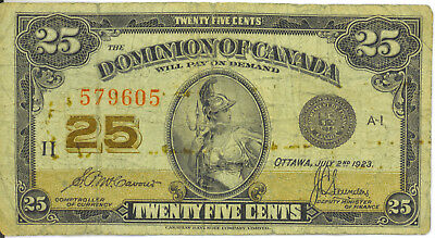Dominion of Canada 1923 25 Cents Shinplaster McCavour- Saunders No Authorized VG