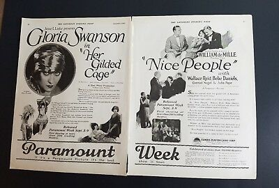 1922 Gloria Swanson in her gilded cage Paramount Picture week 2 page ad