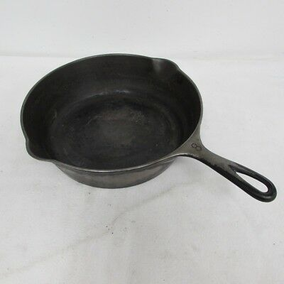 "Vintage 11"" Wagner Ware Sidney O Cast Iron Skillet No. 8 Double Depth Heat Ring"