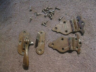 1920 Belding Hall Ice Box No. 2522 1 Pair Door Hinges & L/H Latch w Keeper Plus