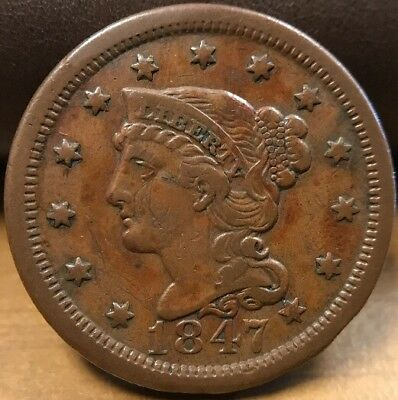 1847 Braided Hair Large Cent XF Condition! Beautiful Coin!