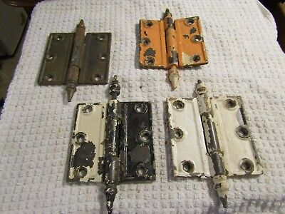 "Antique Victorian Ornate Eastlake 3.5"" x 3.5"" Door Hinges Matched Set 4"