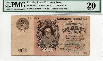 Russia 15000 Rubles, 1923, Pick -182, PMG-20