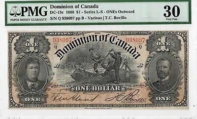 DC-13c 1898 $1 SERIES L-S - ONEs Outward. DOMINION OF CANADA PMG-30