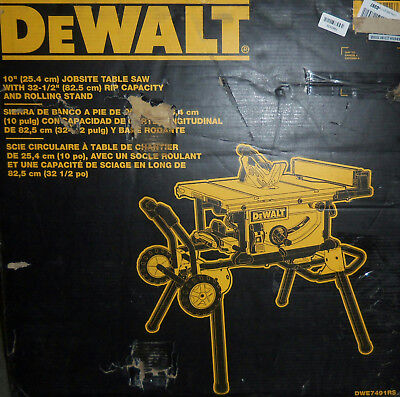 NEW DEWALT DWE7491RS 10-Inch Jobsite Table Saw with Rolling Stand $1269