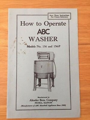 Vintage How To Operate ABC Washer  Altorfer WRINGER WASHING MACHINE  1930s