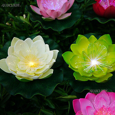 3pcs Artificial Floating Lily Lotus Flowers Waterproof Optic Fibre LED lights D
