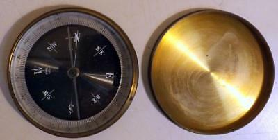 """Antique 2½"""" Inch Brass Pocket Compass w Beveled Glass Cover Made in France"""