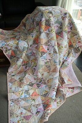 "NEW - Hand Made Quilt ""SHABBY CHIC"" Design by Quilt-Addicts 77"" x 70"""