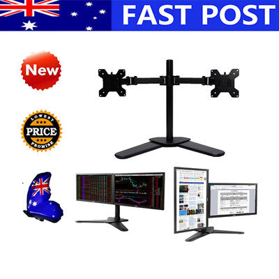 27'' 2 Arm Holder LCD Screen TV PC Desk Mount Bracket Dual LED monitor stand AU