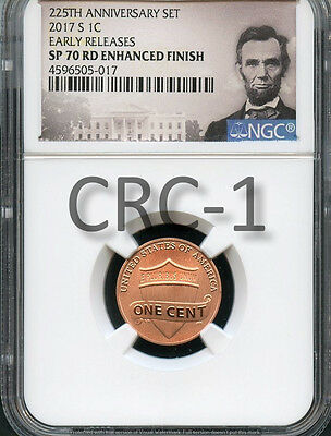 2017 S Enhanced Lincoln Penny 225th Anniversary Set E.R. NGC SP70 RD E.F. (Por)