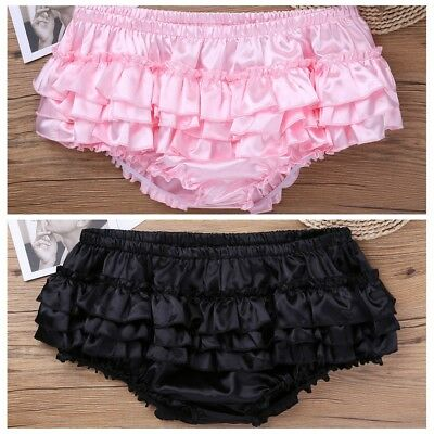 Mens Soft Satin Ruffled Bloomer Skirted Sissy Panties Briefs Thong Underwear