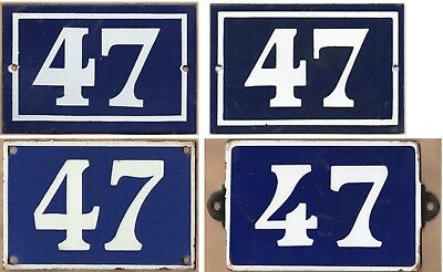 Old blue French house number 47 door gate plate enamel steel metal plaque - pick