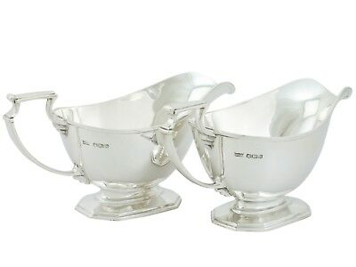 Pair of Antique Sterling Silver Sauceboats George V Art Deco 1935