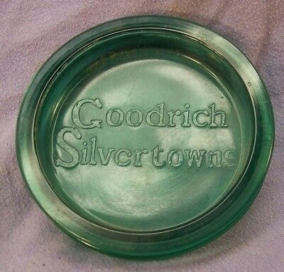 Antique Goodrich Silvertowns Tire Ashtray Green Glass Insert (No Tire)