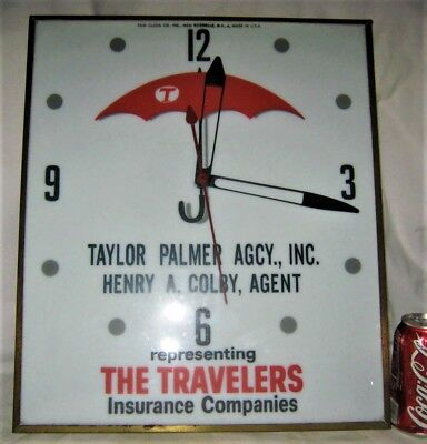Old Travelers Insurance Pam Clock Co. Usa Light Lamp Wall Art Advertising Sign