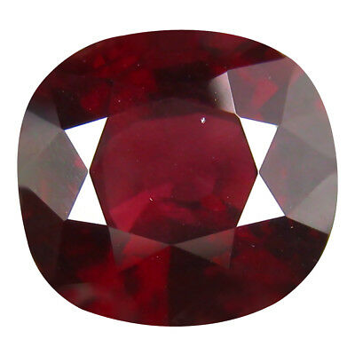 7.90 ct Cushion (11 x 11 mm) Pinkish Red Rhodolite Garnet Natural Loose Gemstone