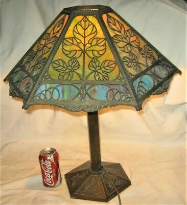 Antique Bradley Hubbard Usa Table Panel Art Glass Lamp Cast Iron Base Light B&H