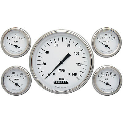 Classic Instruments WH54SLF White Hot Series 5-Gauge Set 4-5/8 Electrical Speedo