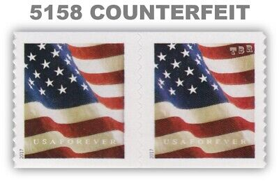 5158 (CF1) Pair Postal Counterfeit US Forever Flag Design of 2017 MNH - Buy Now