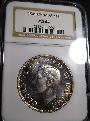 D1 Canada 1945 Silver Dollar NGC MS-64