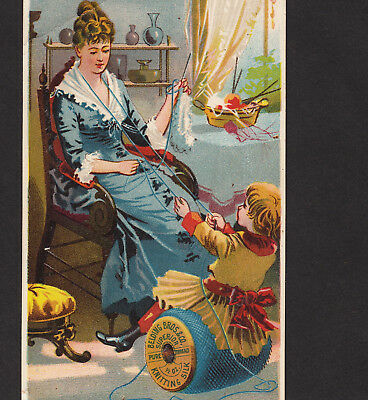Belding Sewing Thread Knitting Silk 1800's RARE Victorian Advertising Trade Card