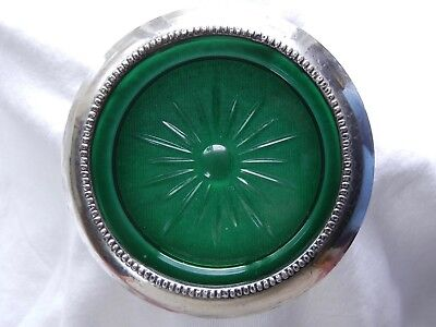 "Vintage Sterling Silver & Green Glass Frank M Whiting Coaster Trivet 3-7/8"" (2)"