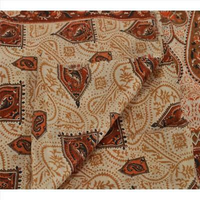 Tcw Vintage 100% Pure Silk Saree Cream Paisley Printed Sari Craft Fabric