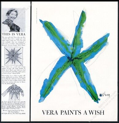1964 Scarves By Vera blue starfish Paints A Wish art vintage print ad