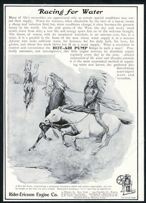 1904 Native American Indian on horse art Rider Ericcson Engine pump print ad